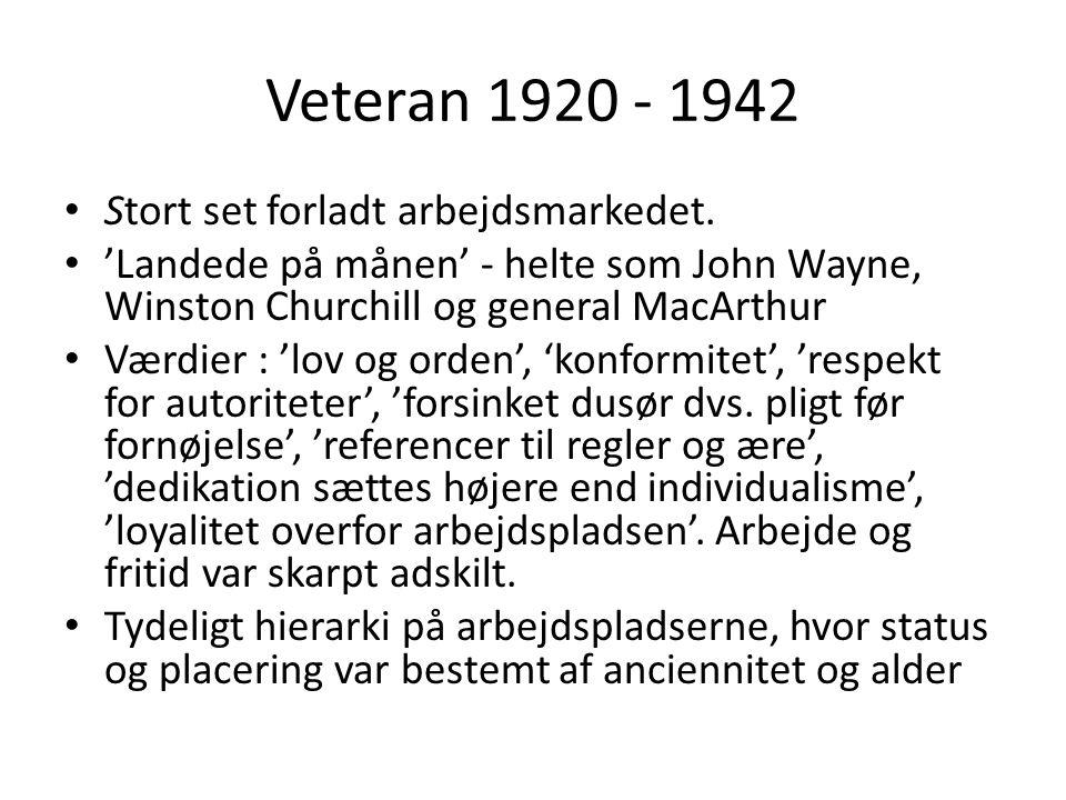 Veteran 1920 - 1942 Stort set forladt arbejdsmarkedet.