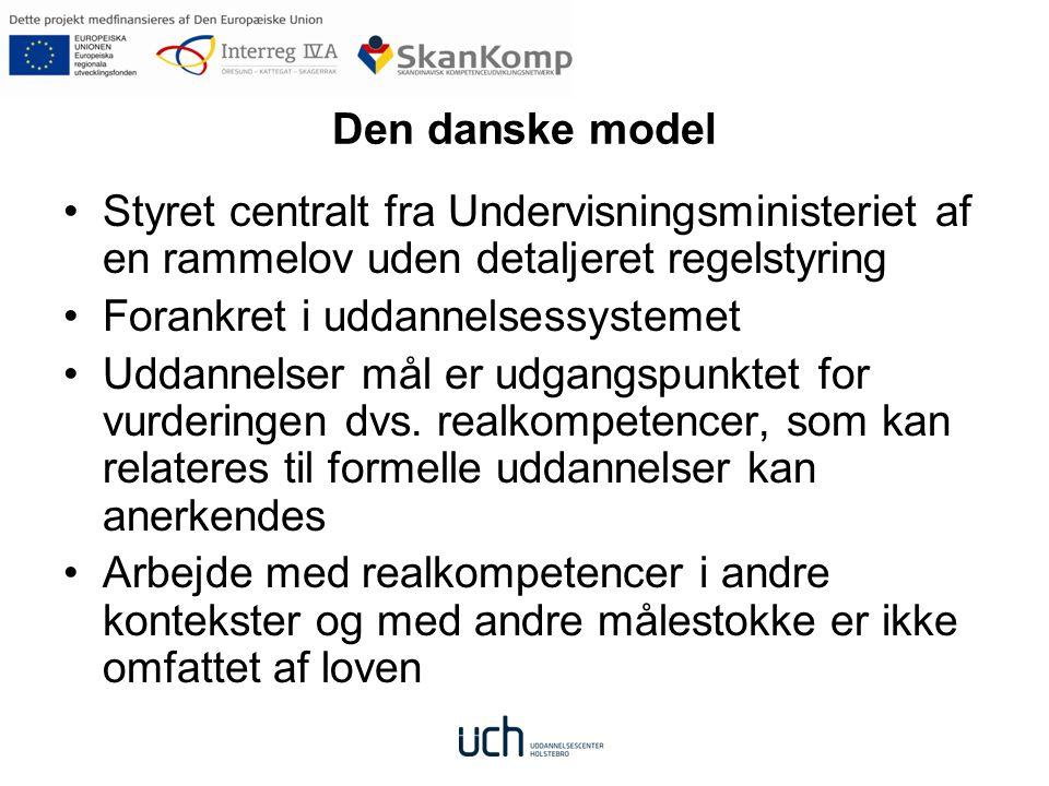 Den danske model Styret centralt fra Undervisningsministeriet af en rammelov uden detaljeret regelstyring.