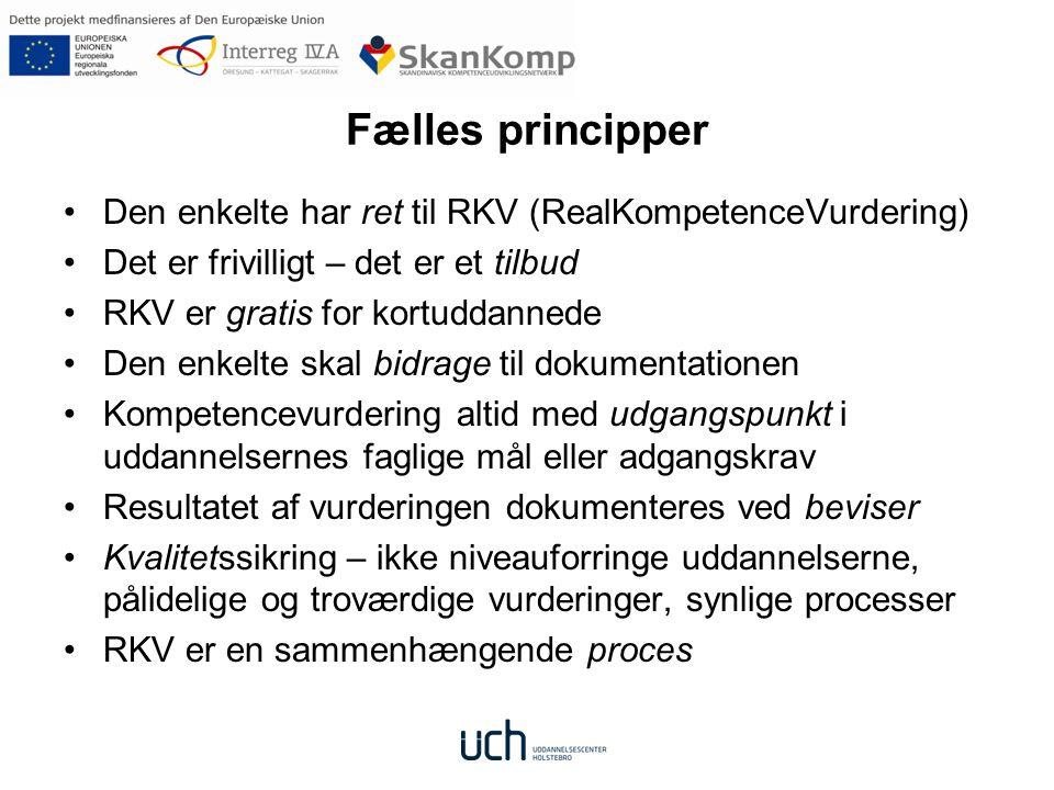 Fælles principper Den enkelte har ret til RKV (RealKompetenceVurdering) Det er frivilligt – det er et tilbud.