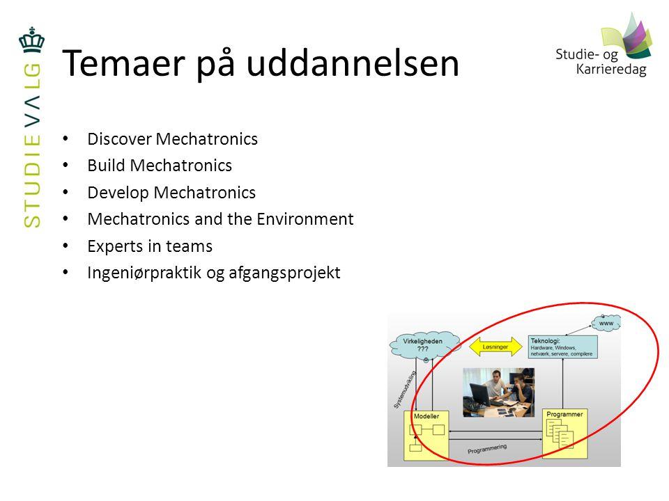 Temaer på uddannelsen Discover Mechatronics Build Mechatronics