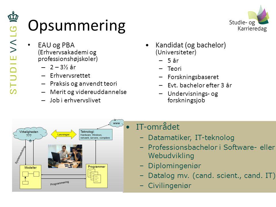 Opsummering EAU og PBA (Erhvervsakademi og professionshøjskoler)