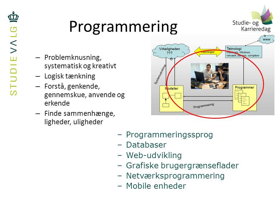 Programmering Problemknusning, systematisk og kreativt Logisk tænkning