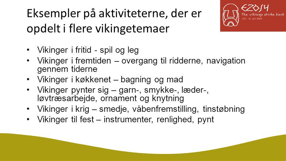 Eksempler på aktiviteterne, der er opdelt i flere vikingetemaer