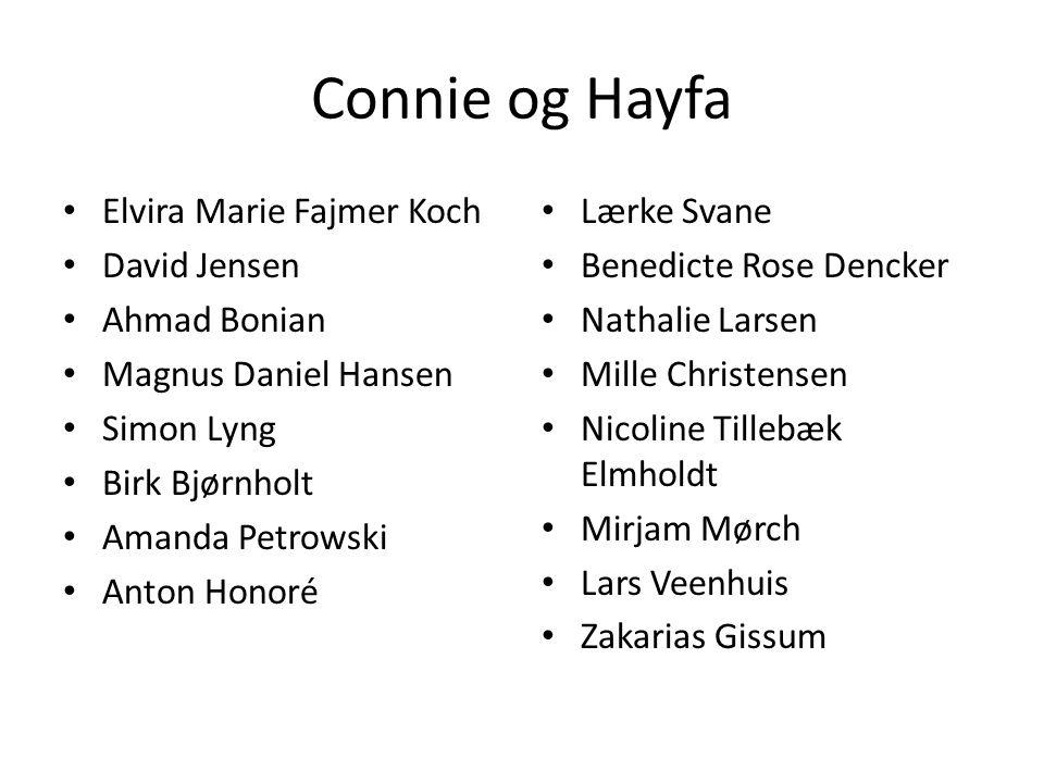 Connie og Hayfa Elvira Marie Fajmer Koch David Jensen Ahmad Bonian