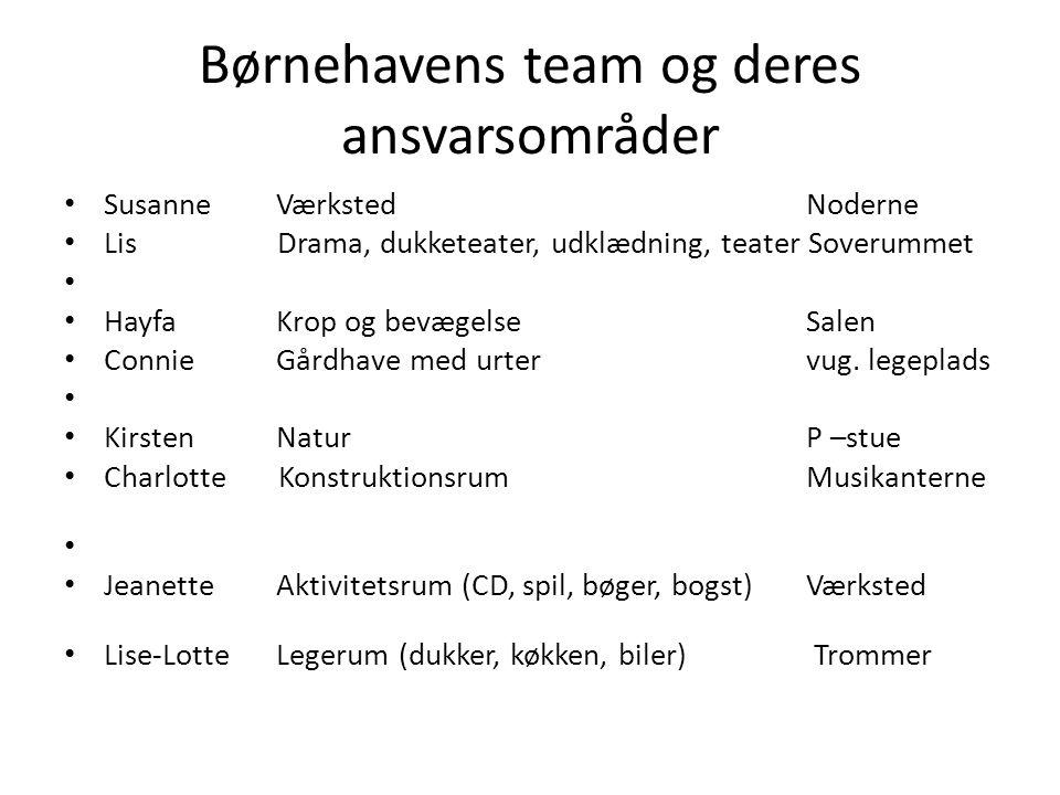 Børnehavens team og deres ansvarsområder