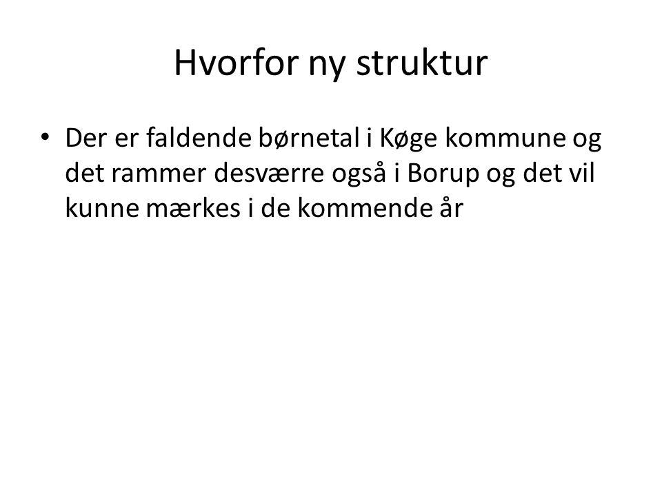 Hvorfor ny struktur Der er faldende børnetal i Køge kommune og det rammer desværre også i Borup og det vil kunne mærkes i de kommende år.