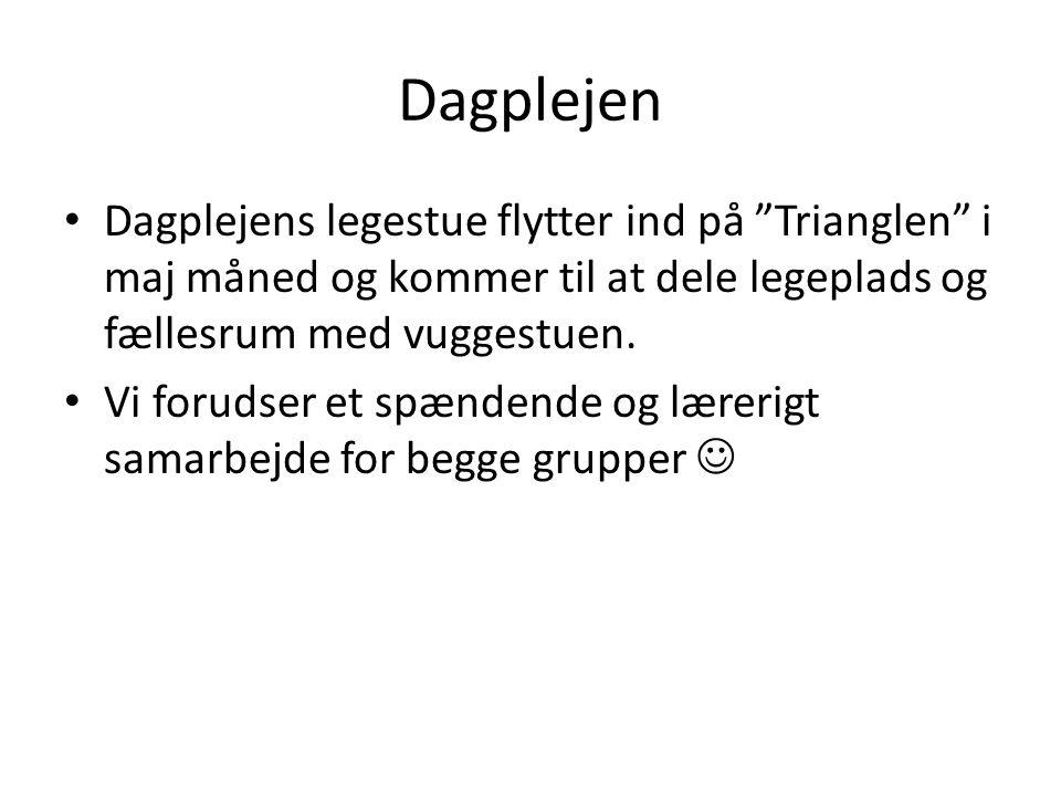 Dagplejen Dagplejens legestue flytter ind på Trianglen i maj måned og kommer til at dele legeplads og fællesrum med vuggestuen.