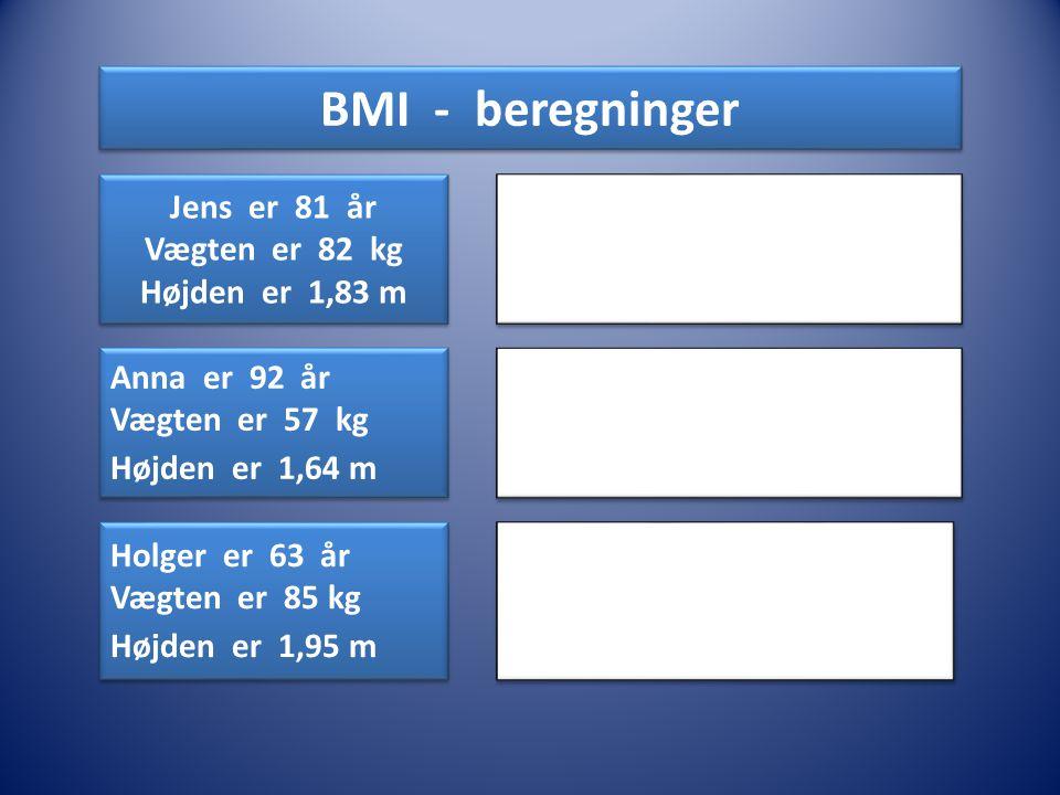 BMI - beregninger Jens er 81 år Vægten er 82 kg Højden er 1,83 m