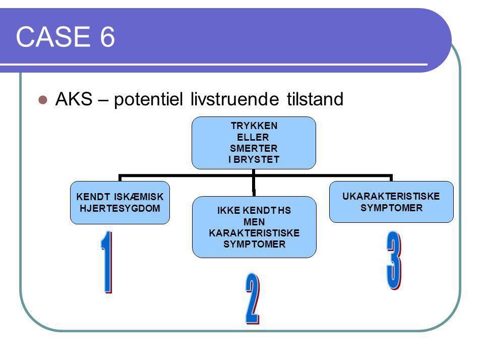 CASE 6 AKS – potentiel livstruende tilstand 1 3 2
