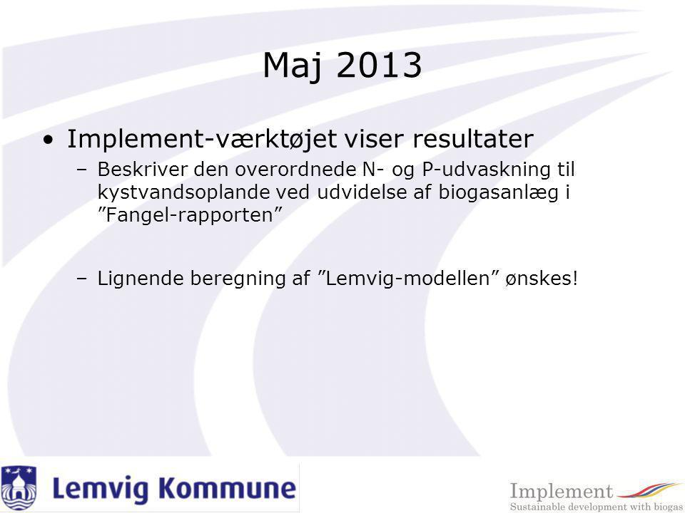 Maj 2013 Implement-værktøjet viser resultater