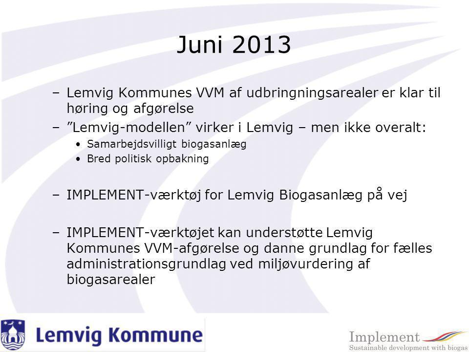 Juni 2013 Lemvig Kommunes VVM af udbringningsarealer er klar til høring og afgørelse. Lemvig-modellen virker i Lemvig – men ikke overalt: