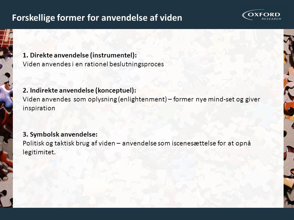 Forskellige former for anvendelse af viden