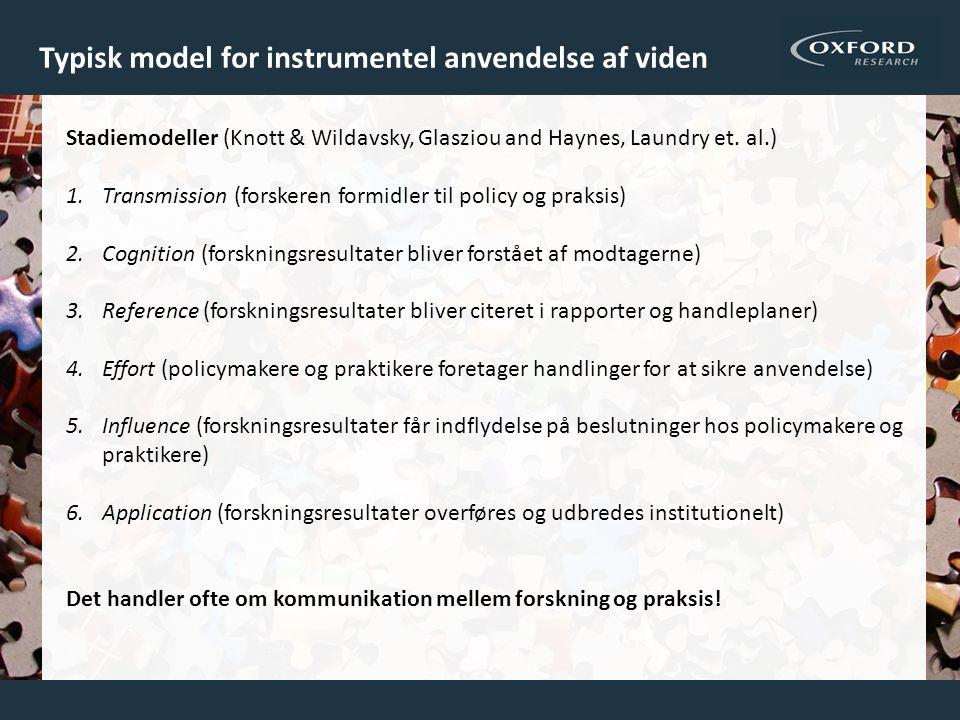 Typisk model for instrumentel anvendelse af viden