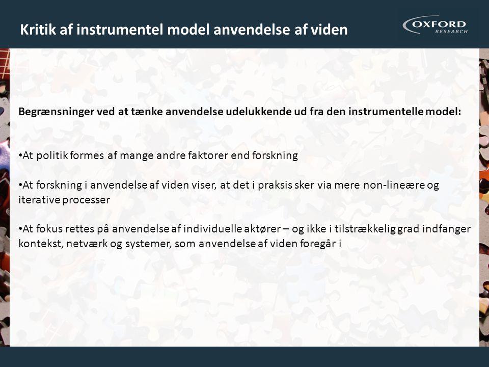 Kritik af instrumentel model anvendelse af viden