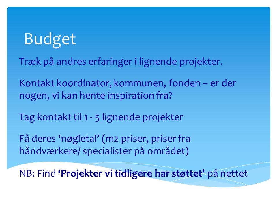 Budget Træk på andres erfaringer i lignende projekter.