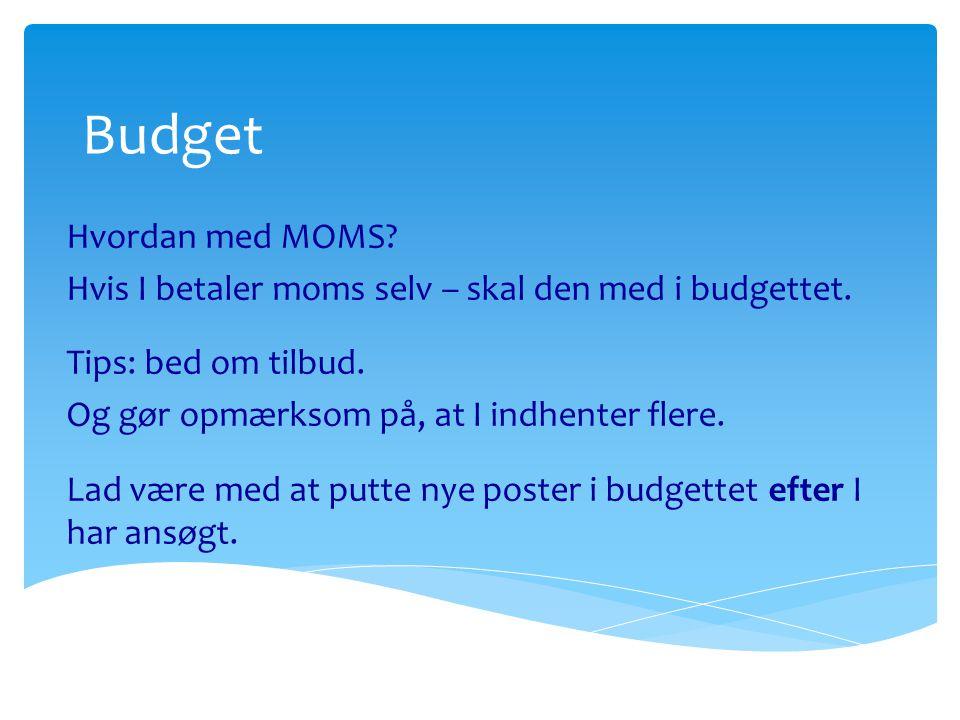 Budget Hvordan med MOMS