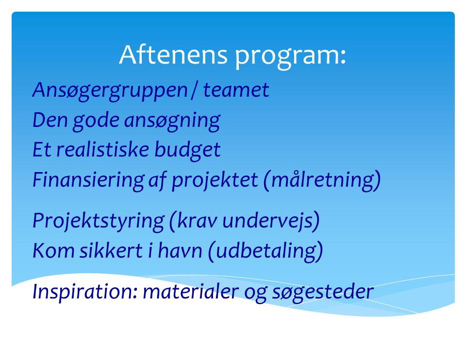Aftenens program: Ansøgergruppen / teamet Den gode ansøgning