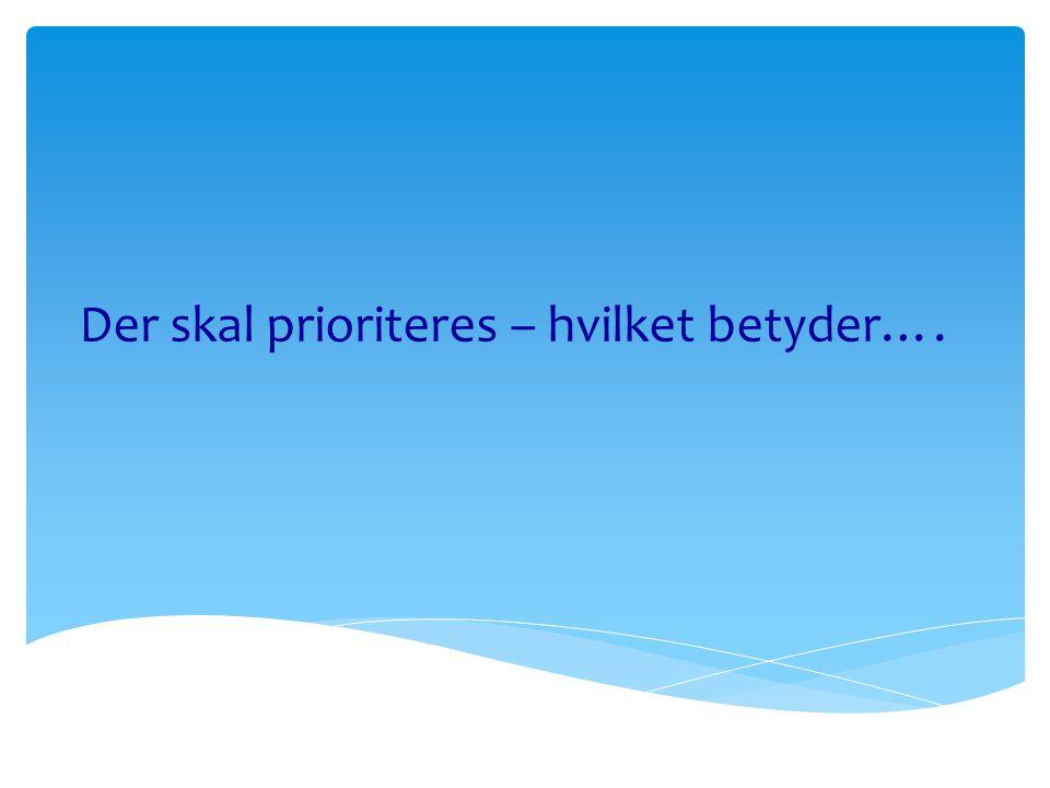 Der skal prioriteres – hvilket betyder….