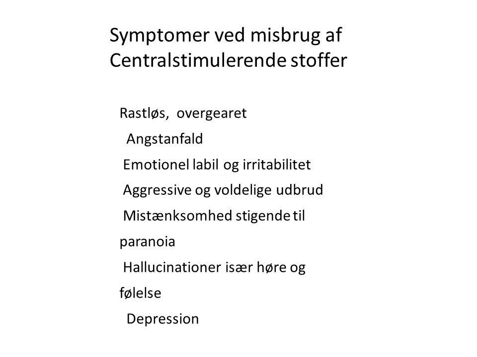 Symptomer ved misbrug af Centralstimulerende stoffer