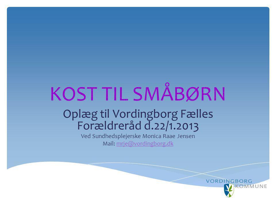 KOST TIL SMÅBØRN Oplæg til Vordingborg Fælles Forældreråd d.22/1.2013