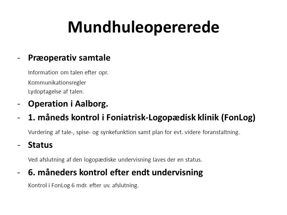 Mundhuleopererede Præoperativ samtale Information om talen efter opr.