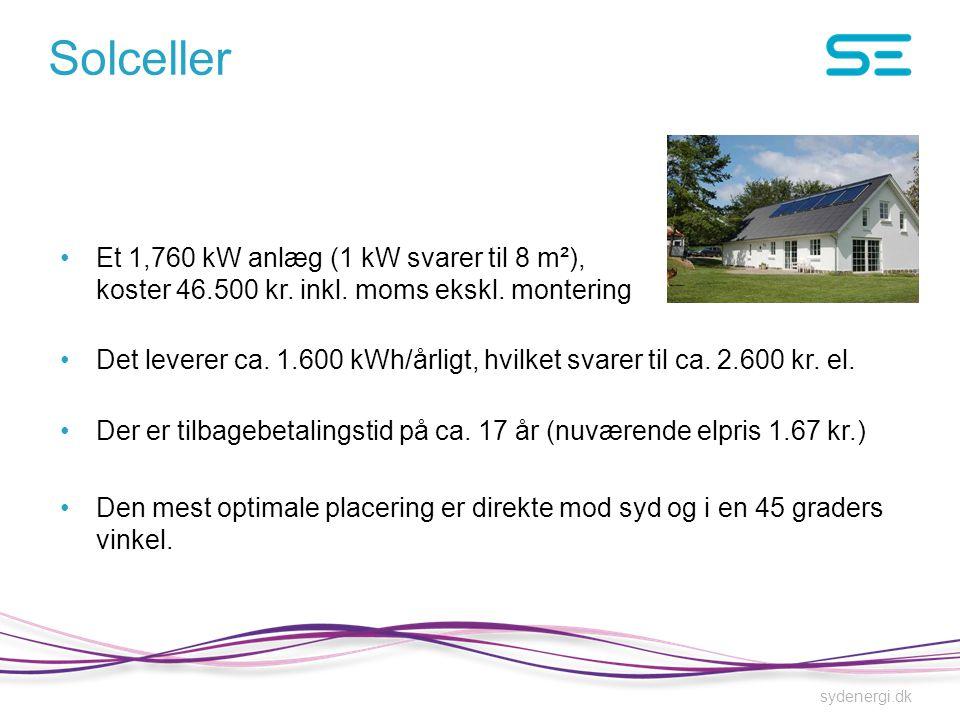 Solceller Et 1,760 kW anlæg (1 kW svarer til 8 m²), koster 46.500 kr. inkl. moms ekskl. montering.