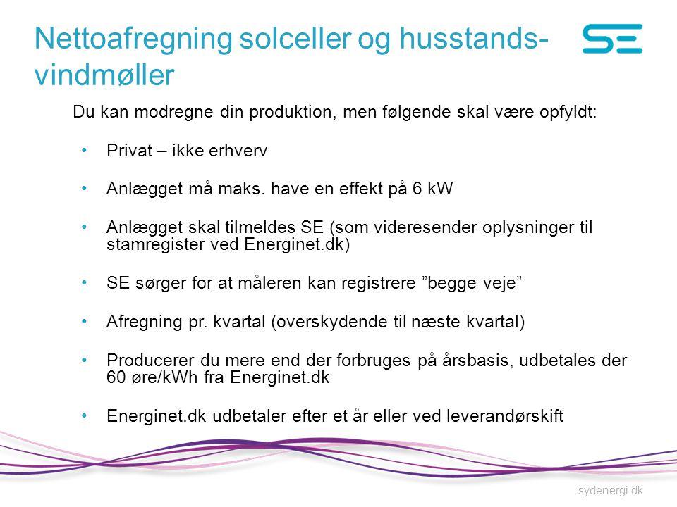 Nettoafregning solceller og husstands-vindmøller