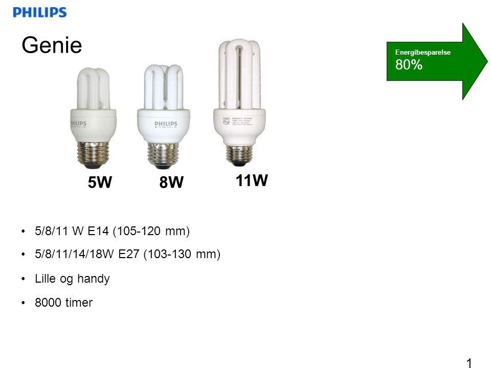 Genie 5W. 8W. 11W. Energibesparelse. 80% 5/8/11 W E14 (105-120 mm) 5/8/11/14/18W E27 (103-130 mm)