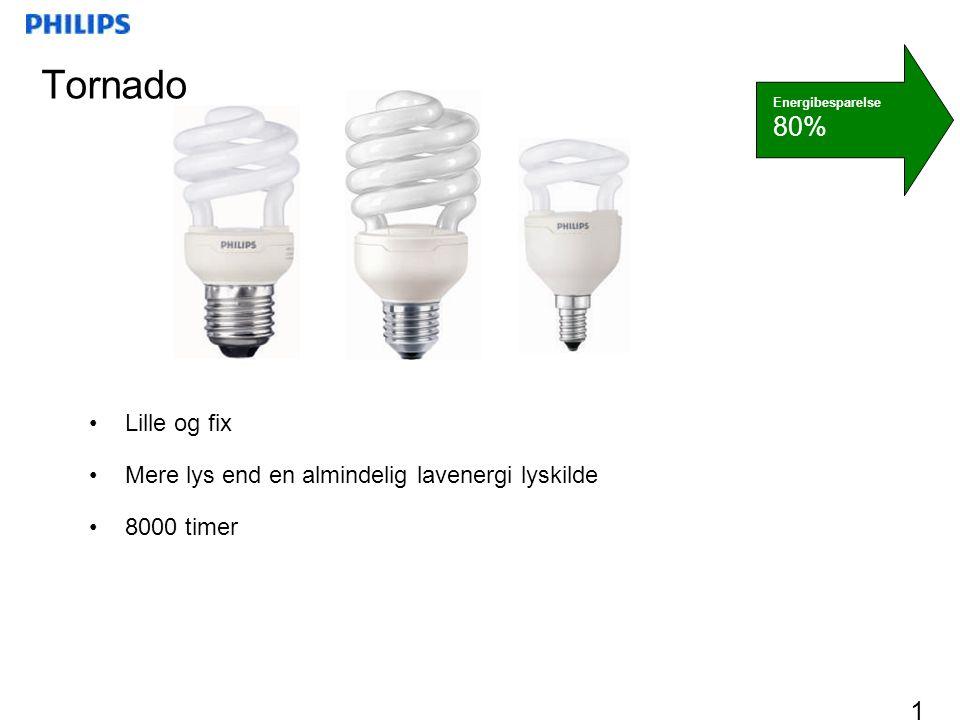 Tornado 80% Lille og fix Mere lys end en almindelig lavenergi lyskilde
