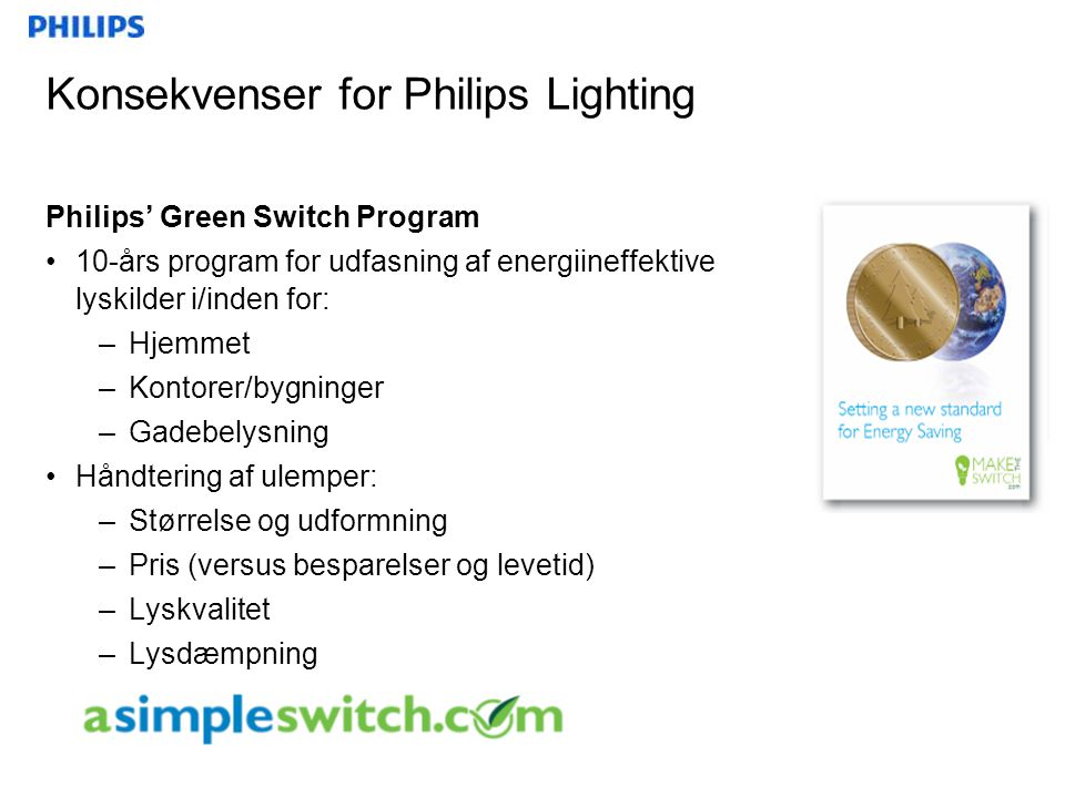 Konsekvenser for Philips Lighting