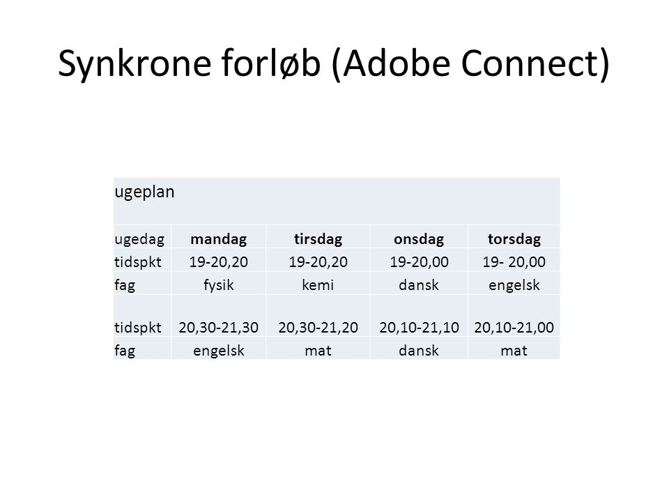 Synkrone forløb (Adobe Connect)