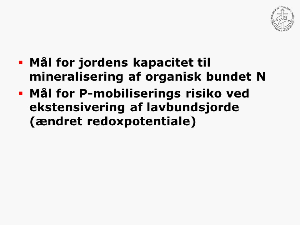 Mål for jordens kapacitet til mineralisering af organisk bundet N