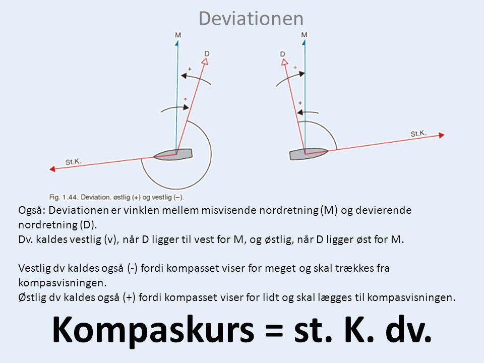 Kompaskurs = st. K. dv. Deviationen