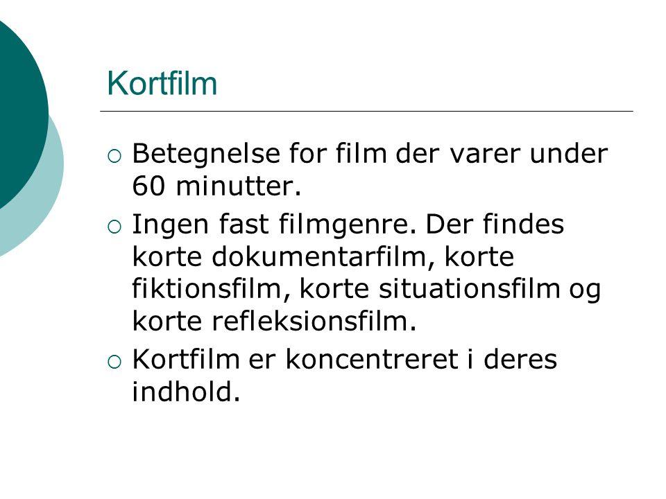 Kortfilm Betegnelse for film der varer under 60 minutter.
