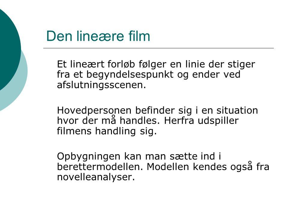 Den lineære film Et lineært forløb følger en linie der stiger fra et begyndelsespunkt og ender ved afslutningsscenen.
