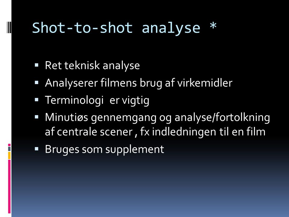 Shot-to-shot analyse *