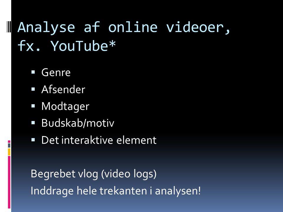 Analyse af online videoer, fx. YouTube*
