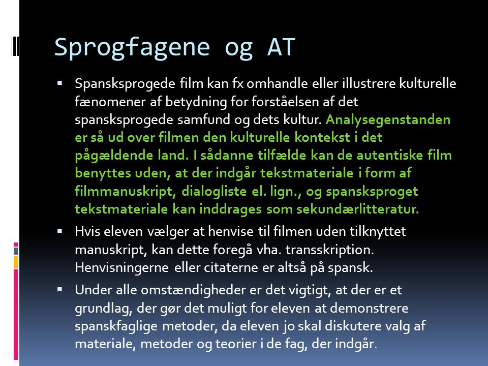 Sprogfagene og AT