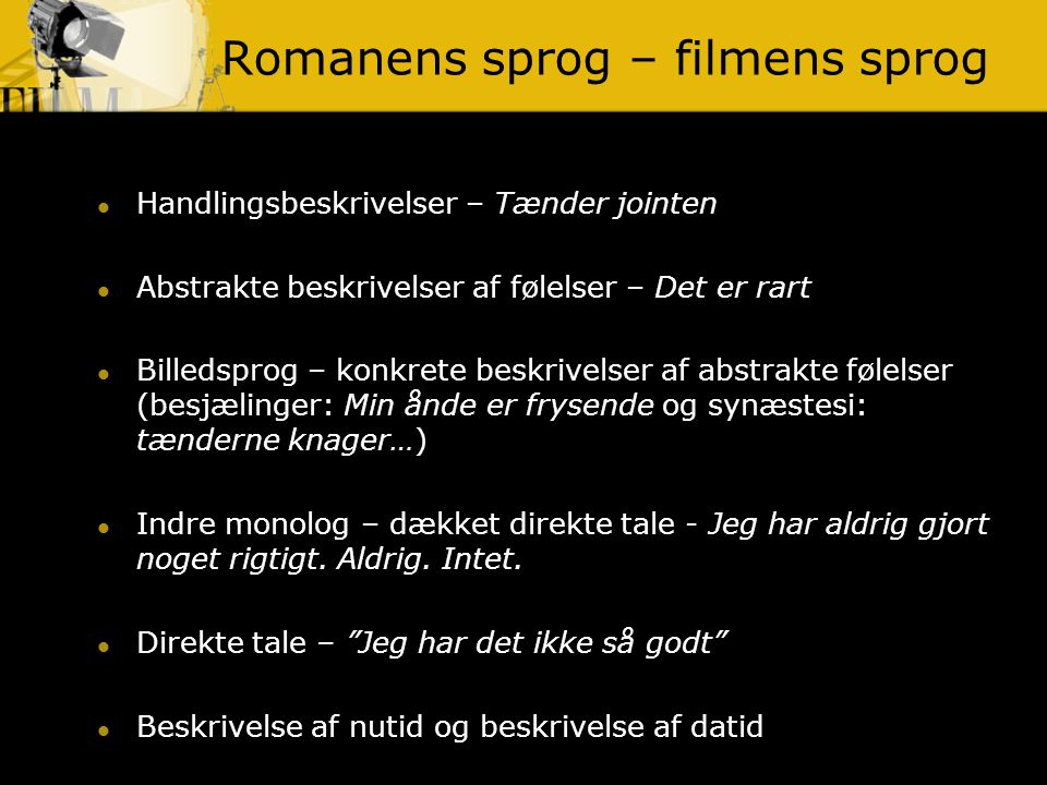 Romanens sprog – filmens sprog