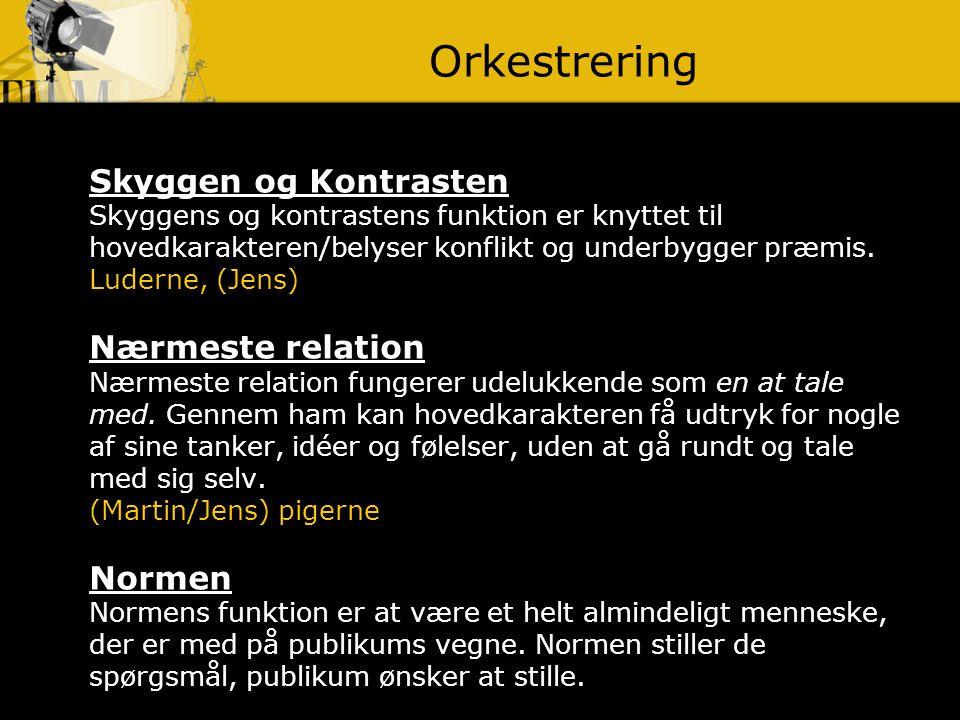 Orkestrering Skyggen og Kontrasten Nærmeste relation Normen