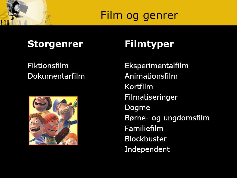 Film og genrer Storgenrer Filmtyper Fiktionsfilm Dokumentarfilm