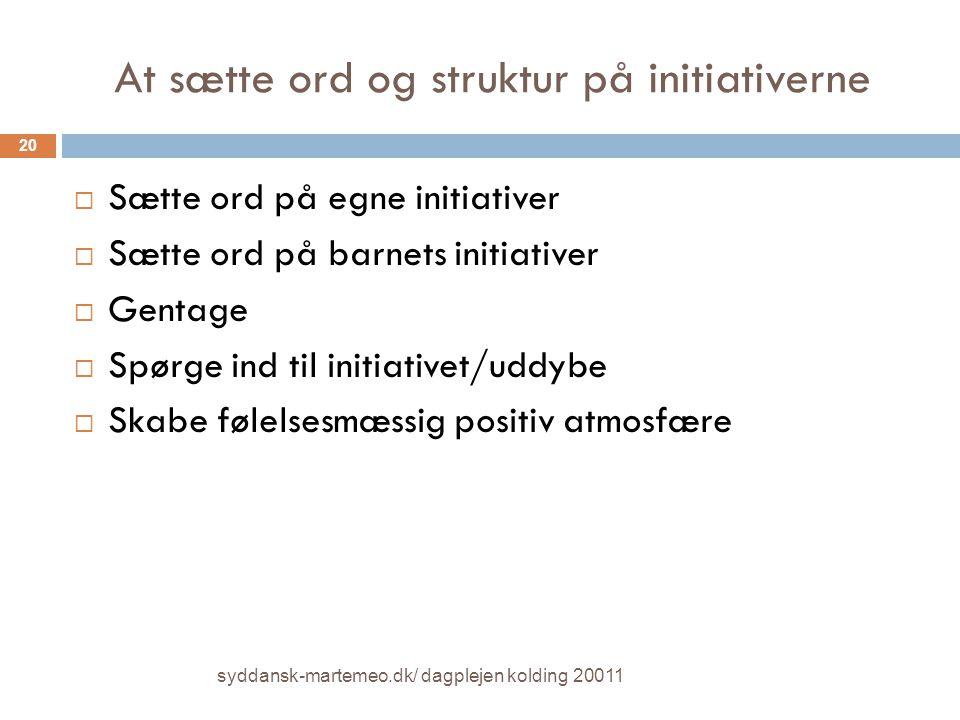At sætte ord og struktur på initiativerne