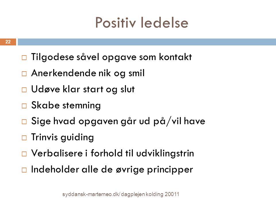 Positiv ledelse Tilgodese såvel opgave som kontakt
