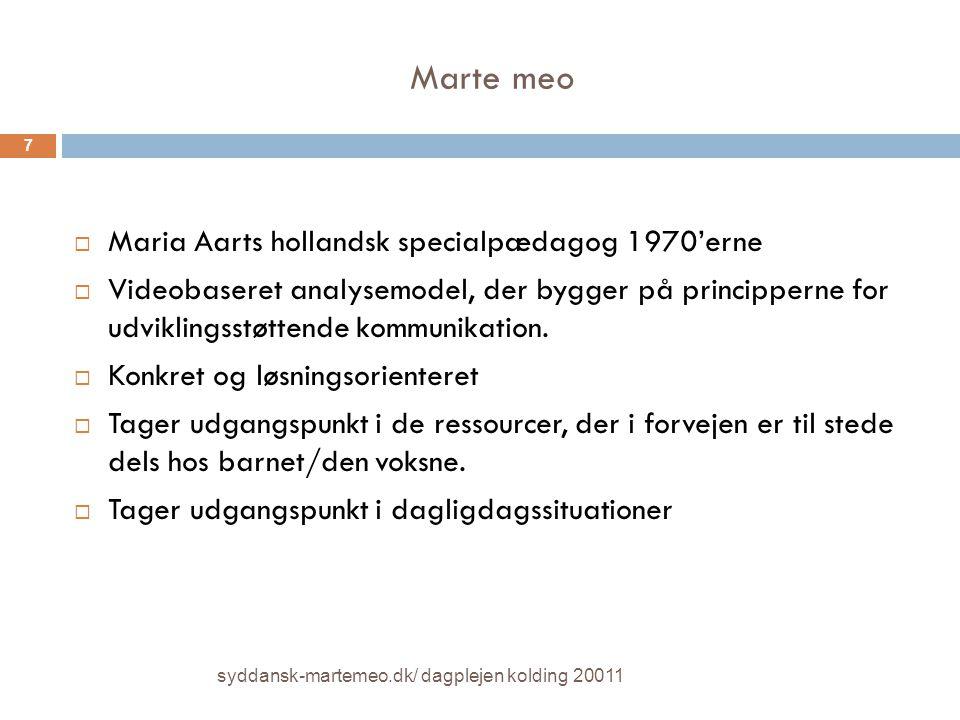 Marte meo Maria Aarts hollandsk specialpædagog 1970'erne