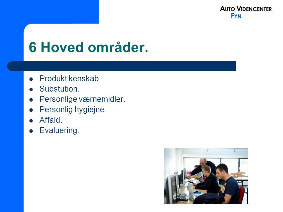 6 Hoved områder. Produkt kenskab. Substution. Personlige værnemidler.