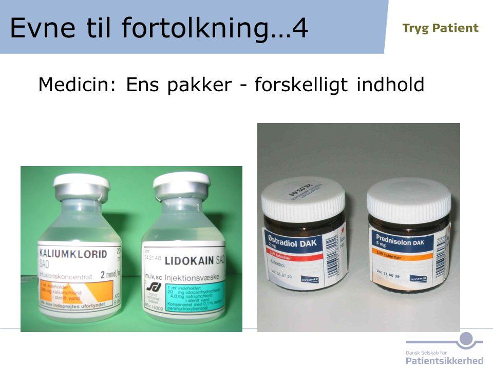 Medicin: Ens pakker - forskelligt indhold