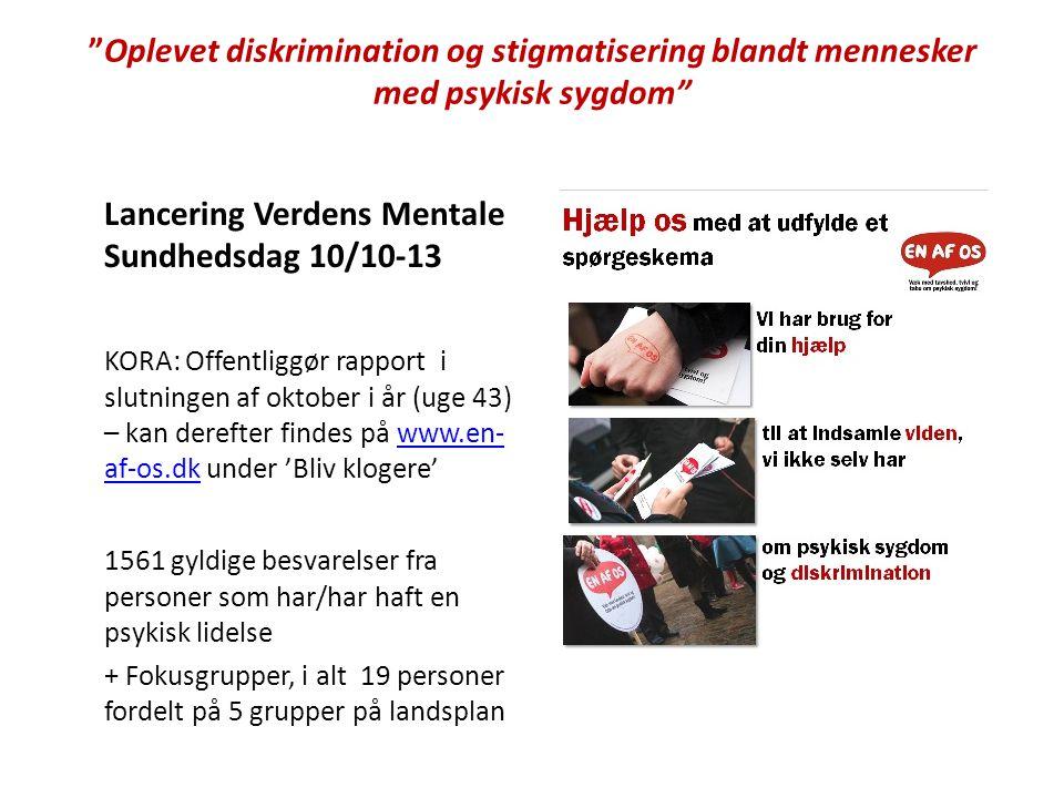 Lancering Verdens Mentale Sundhedsdag 10/10-13