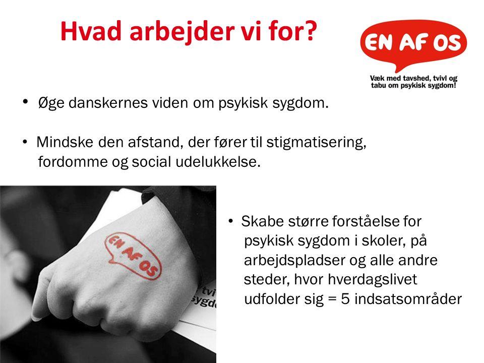 Hvad arbejder vi for Øge danskernes viden om psykisk sygdom.