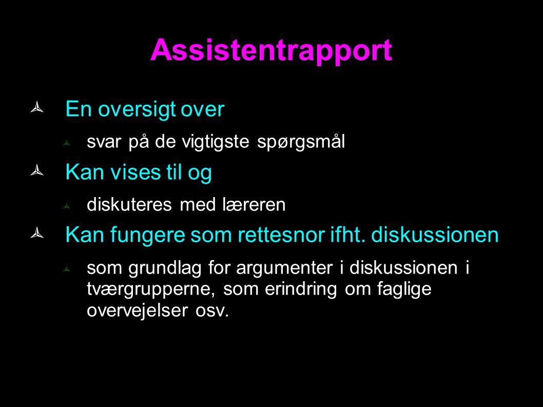 Assistentrapport En oversigt over Kan vises til og