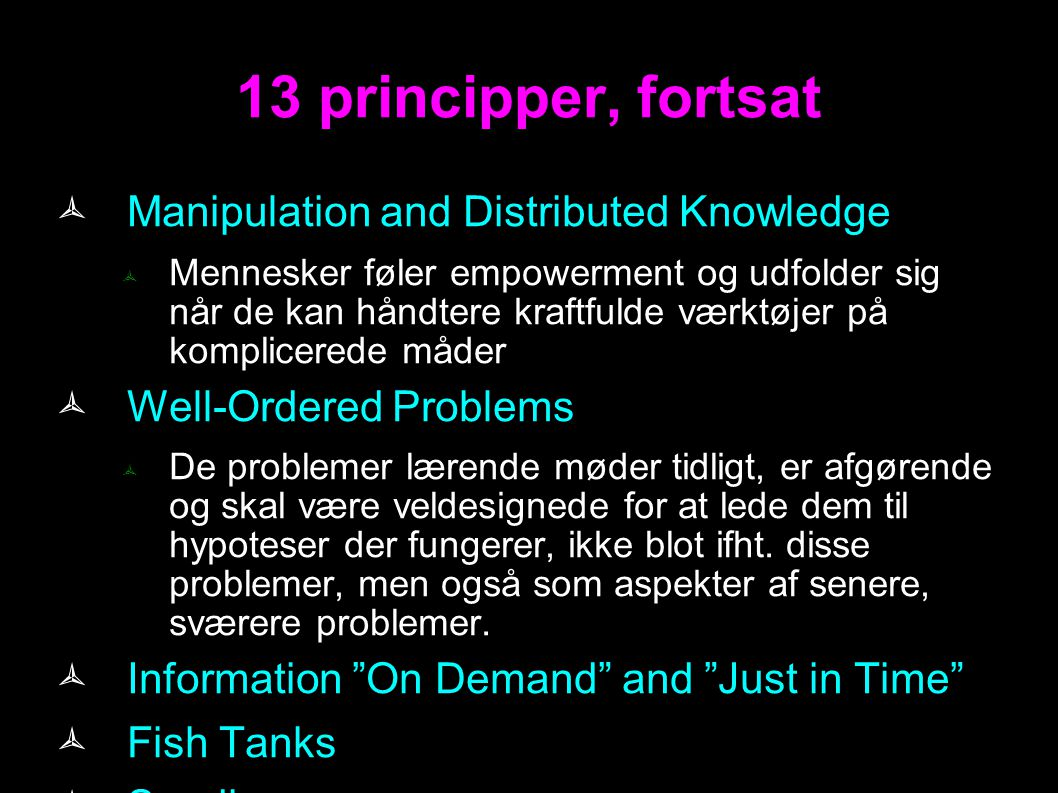 13 principper, fortsat Manipulation and Distributed Knowledge
